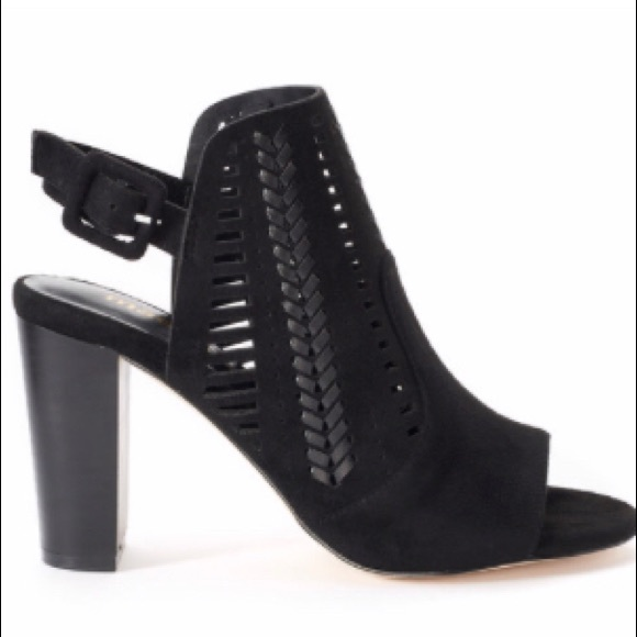 a422c91dc88 Madden NYC black faux suede open toe booties S 10